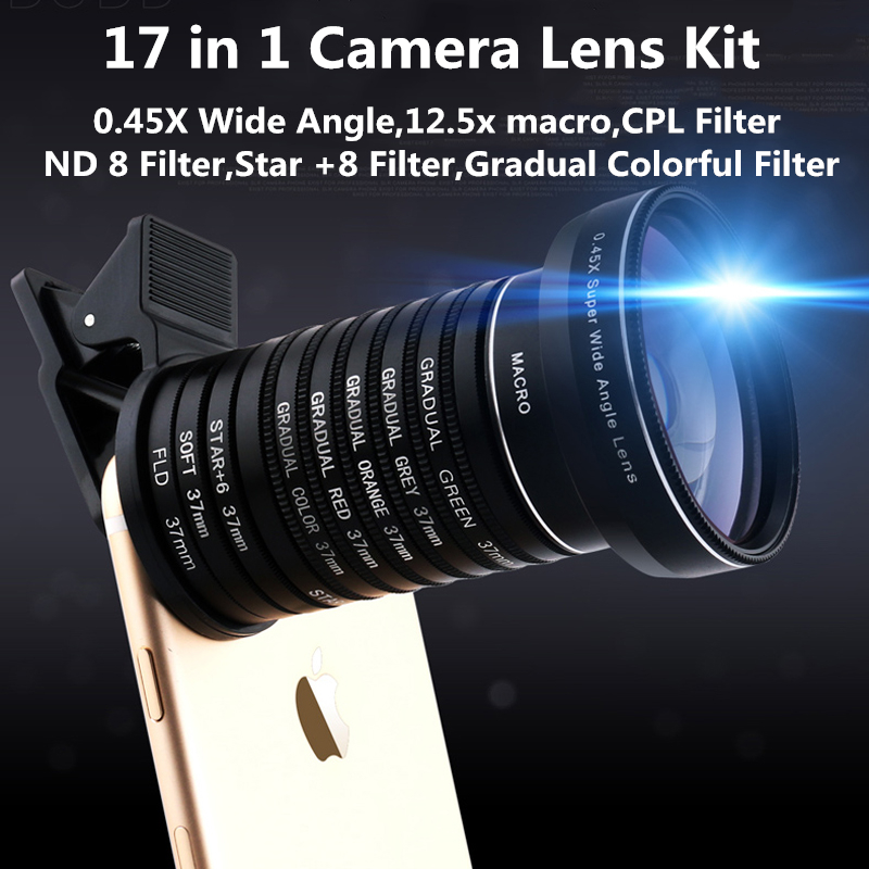 Universal Clip 17 in 1 Camera Lens Kit for iPhone Samsung