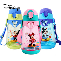 Disney 550ml Water Bottle Mickey Mouse Child Cup Baby Water Cup Baby Cups Sippy Kids Double Lid Sports Bottle With Straws Gifts