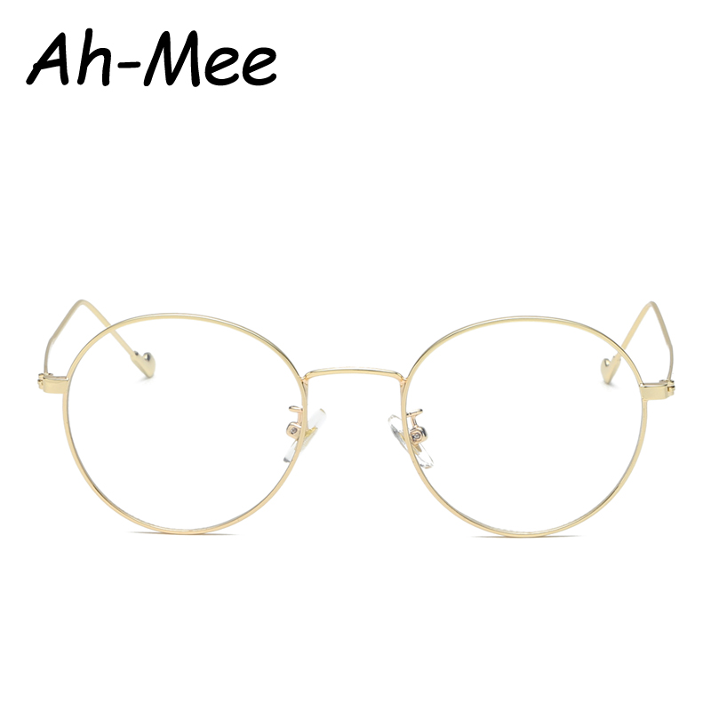 Ah-mee Small Oval Nerd Glasses Frames Clear Lens Unisex Gold Round Metal Frame Myopia Eyeglasses Optical