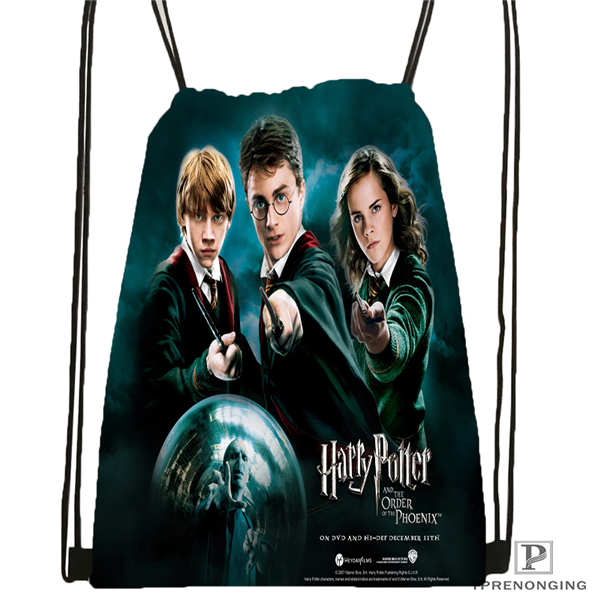 Custom Harry_potter_artwork_ @1 Drawstring Backpack Bag Cute Daypack Kids Satchel (Black Back) 31x40cm#2018611-24