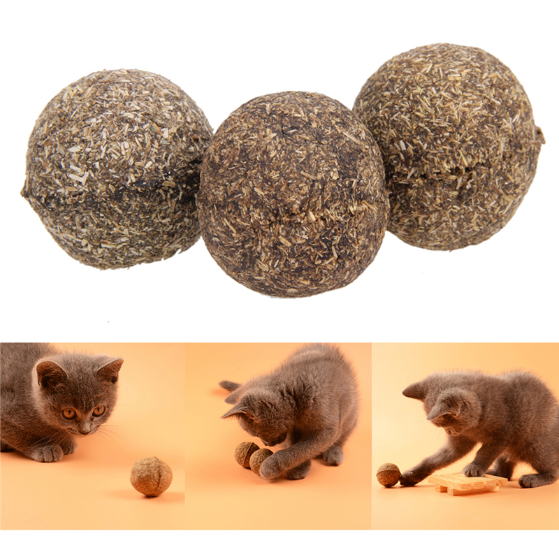 3pcs Cat Toy Natural Catnip Ball Brinquedos Menthol Flavor Cat Treats Ball Toys for Cats Kitten Pet Products