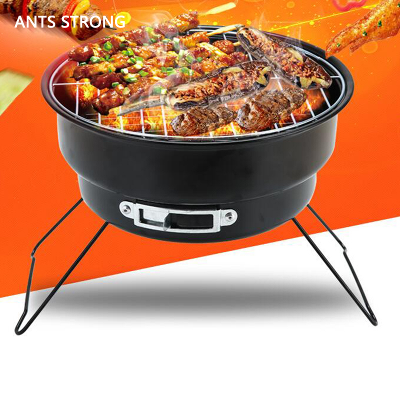 ANTS STRONG portable charcoal folding BBQ grill/outdoor family camping cooking BBQ round type small roast stove brazier