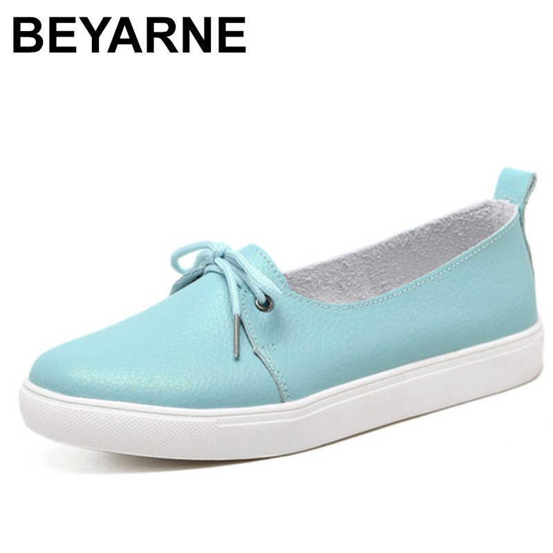 BEYARNE Sonbahar Güzel Kadın Ayakkabı Hakiki Deri Kadın Flats Ayakkabı Moccasins Tek Katı Bale günlük ayakkabılar Kadın Mokasen