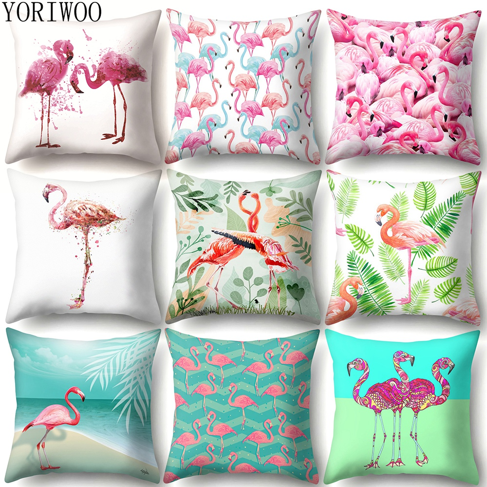 YORIWOO Hawaii Flamingo Decoration Happy Birthday Pillow Case Sofa Tropical Cushion Cover Pillowcase Hawaiian Party Decorations-in Party DIY Decorations from Home & Garden