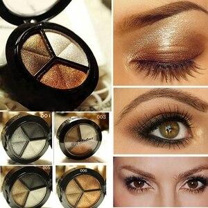 Smoky Eyeshadow Pallet Makeup 3 Colors Natural Matte Eye Shadow Palette Nude Eye Shadow Glitter with Brush(China)