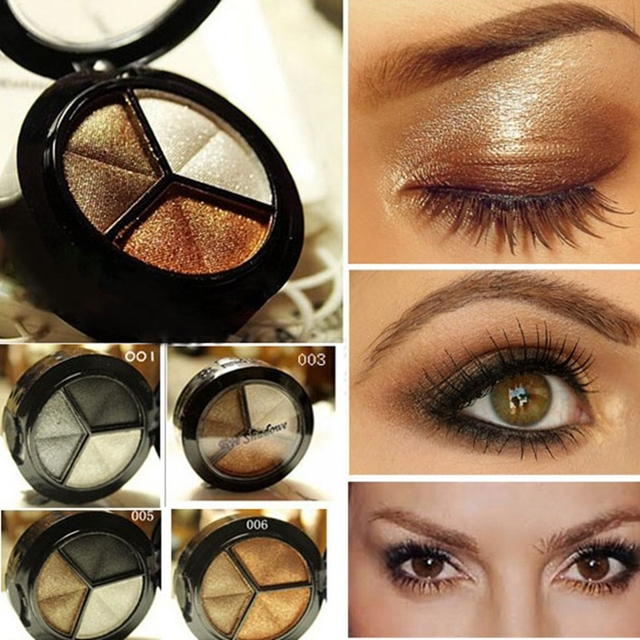 Smoky Eyeshadow Pallet Makeup 3 Colors Natural Matte Eye Shadow Palette Nude Eye Shadow Glitter with Brush