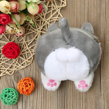 MOLAVE кошельки кошелек женский сплошной Кошелек для монет для девочек на молнии милый кот ягодичный хвост плюшевый Кошелек для монет сумка для мелочи Jul12PY