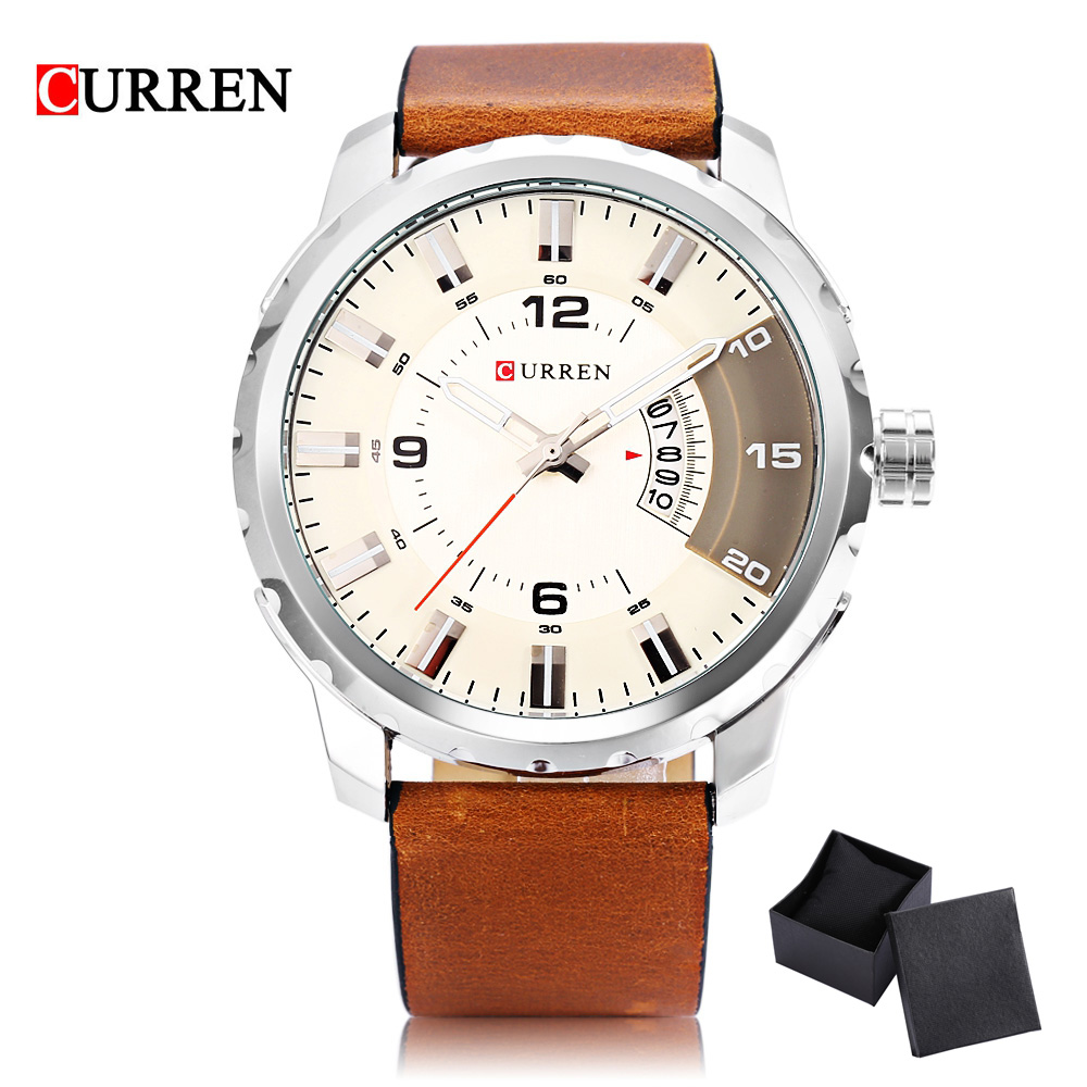 2017 New Sport Men Watch Luxury Brand CURREN Quartz Relogio Masculino Fashion Military Watches Genuine Leather Clock Men genuine curren brand design leather military men cool fashion clock sport male gift wrist quartz business water resistant watch