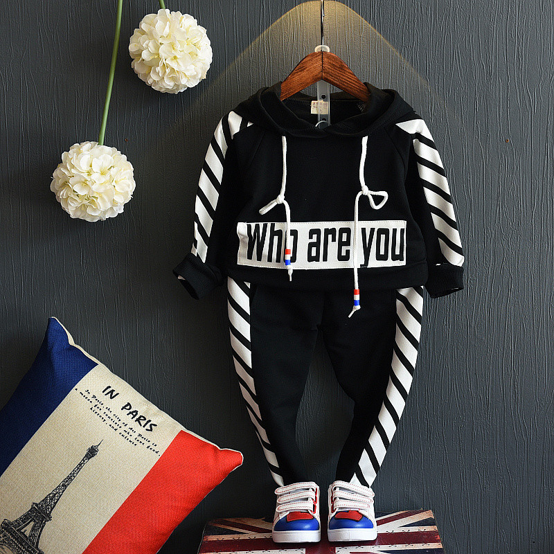 2018 Childrens Clothing Leisure Hooded Two-piece Cotton Long-sleeve Autumn Spring kids Costums Casual Fashion Sports Suit Boy