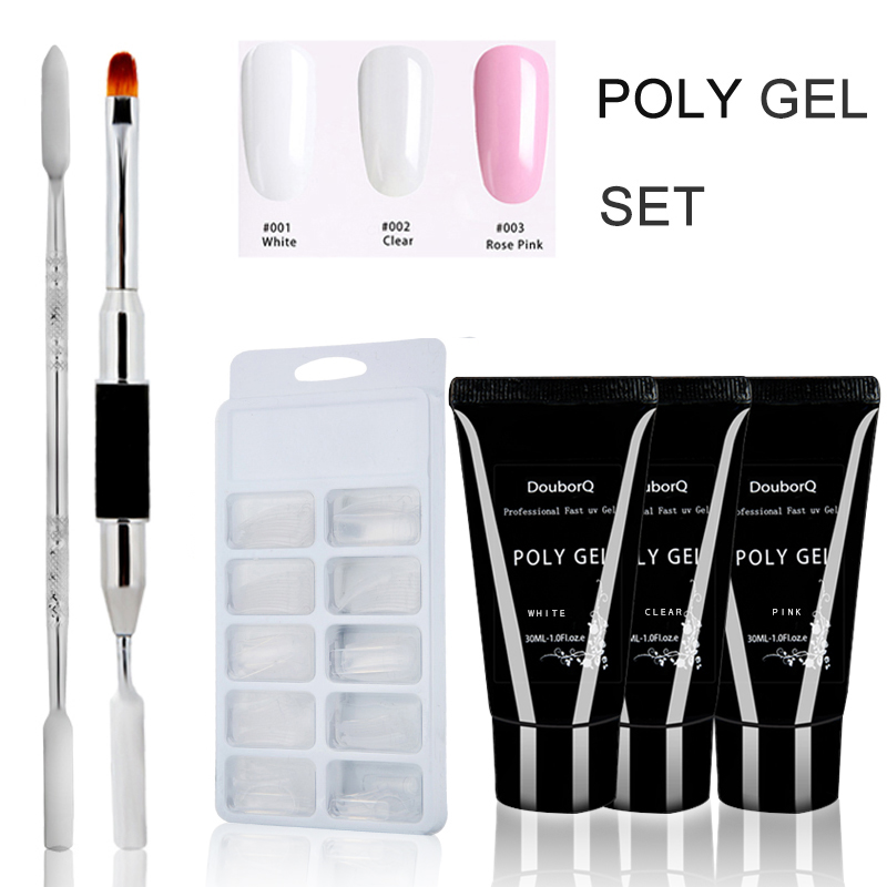 4pcs/set Poly Set Nails Kit Uv French Nails Art Manicure Tips Builder Extending Crystal Jelly Gum Hard Builder