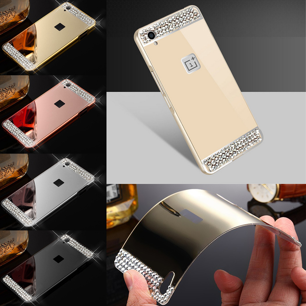 reputable site 3ca97 54734 Handmade DIY Rhinestone Clear Crystal Case Metal Frame Mirror Acrylic Cover  For Oneplus X One Plus 3/3T Phone Bag Shell-in Rhinestone Cases from ...