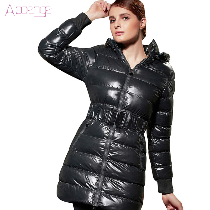 APOENG 2017 New Padded Women Jackets Winter Warm Long Coats Female Cotton Jacket Hooded Paraka Wadded Overwear Silm  LZ444 apoeng women cotton padded jackets with gloves 2017 new winter coats candy color long parkas plus size hooded coat 5xl 6xl lz456