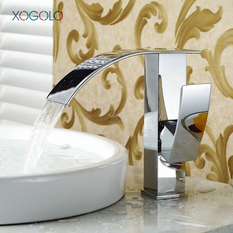 Xogolo Fashion Waterfall Faucet For Bathroom Chrome Single Hole Basin Faucet Mixer New Arrival Cold And Hot Sink Tap hpb new arrival brass bathroom faucet basin sink mixer tap cold hot water taps single hole torneira banheiro chrome hp3046