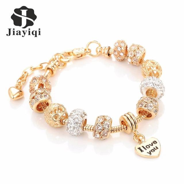 Jiayiqi Fashion European Beads Bracelet Vintage DIY Crystal Silver Golden Color
