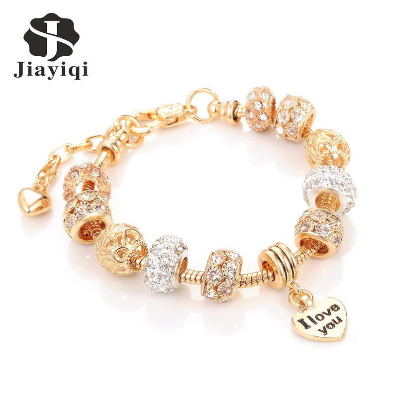 Jiayiqi Fashion European Beads Bracelet Vintage DIY Crystal Silver Golden Color Jewelry Snake Chain Charm Bracelets for Women