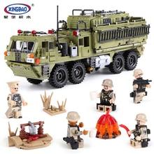 XINGBAO 1377 шт. Военная армейская серия Скорпион тяжелый грузовик набор строительных блоков с экшн фигурой бронированные кирпичи для тележки игрушки