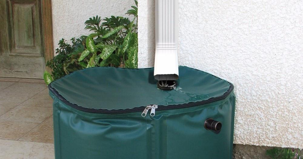 Seau pliable de collecte d'eau de pluie 380L (D75cm X H100cm) utilisation extérieure seaux réservoir d'eau pliable PVC bout d'eau compressible