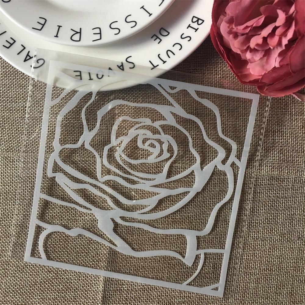1Pcs 15cm Big Rose Flower DIY Layering Stencils Wall Painting Scrapbook Coloring Embossing Album Decorative Card Template