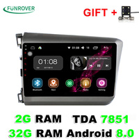 Funrover 9 inch 2 din Android 8.0 Car Radio DVD player GPS 2G RAM 32G For Honda Civic 2011-2015 Support DVR TPMS OBD Camera RDS