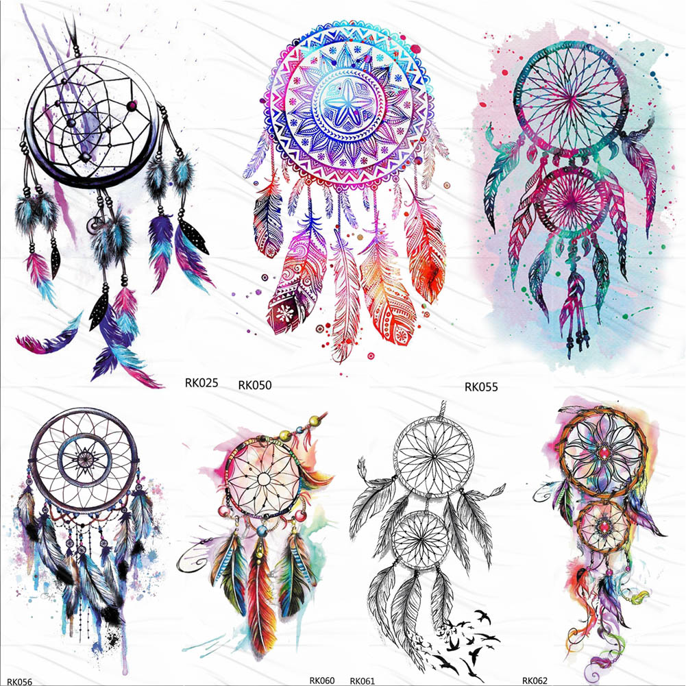 OMMGO Dream Catcher Watercolor Temporary Tattoos Sticker Feather Tribal Custom Tattoo Body Art Arm Fake Tatoos Galaxy Sexy DIY