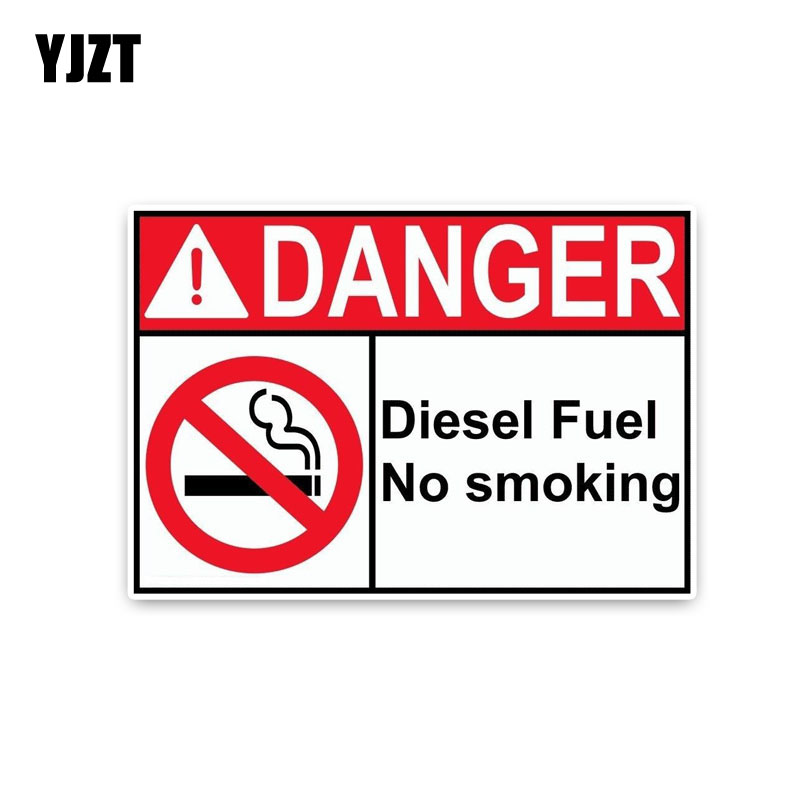 YJZT 15.2*10.5CM Personality DANGER DIESEL FUEL No Smoking Warning Signs PVC Graphical Car Sticker Decal C1-8310 signs