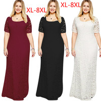 QMGOOD 8XL Large Size Long Dress In The Floor Women High Quality Lace Elegant Party Long
