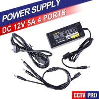 12V 5A 4CH Power Supply Box CCTV Camera DC 12V Power Supply Adapter 4 Port DC