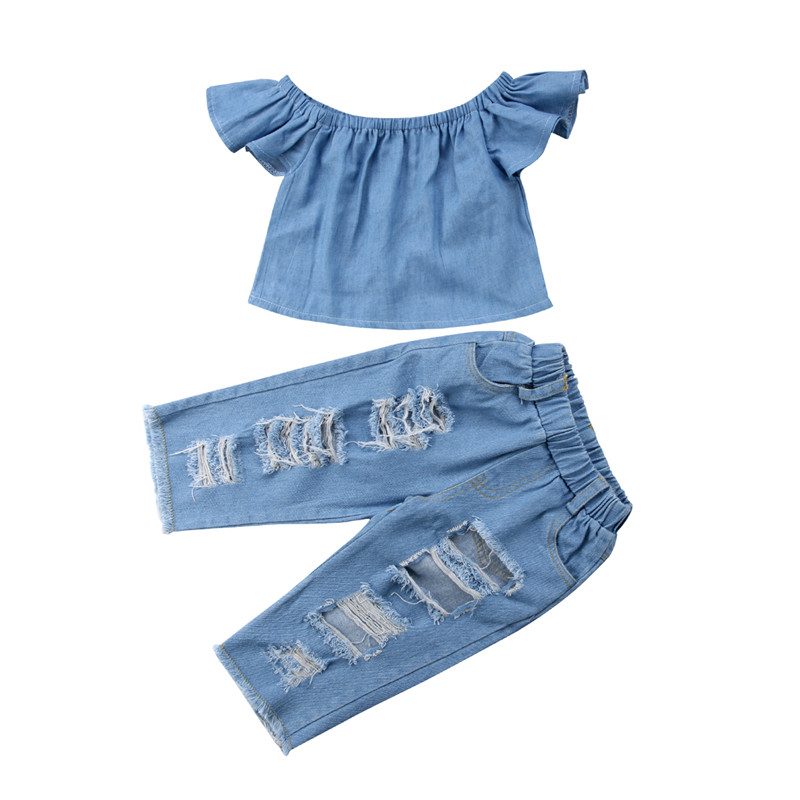 Summer Kids Girls Clothes Set 2018 New Baby Girl Denim Off-shoulder Fly-sleeve Tops+Broken Hole Jeans Pants Outfit Child Clothes summer casual denim newborn toddler baby girl clothing kids off shoulder crop tops shorts outfit clothes set