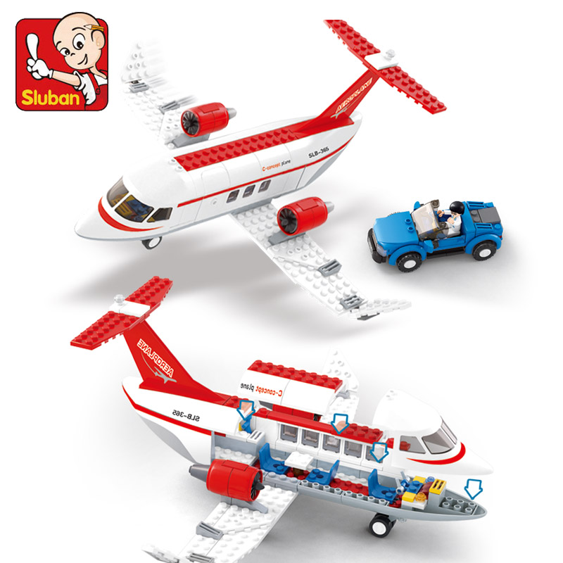 sluban Airplane Passengers Building Sluban Block Sets PCs 275 DIY Brick Kids toy Compatible with lego gift kid set diy 24 national flag patterns electric paper airplane module toy multicolored