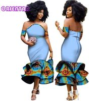Fashion African Clothes Women Strapless Neck African Print Long Ruffle Dresses Party Vestidos African Bazin Dresses Women WY2923