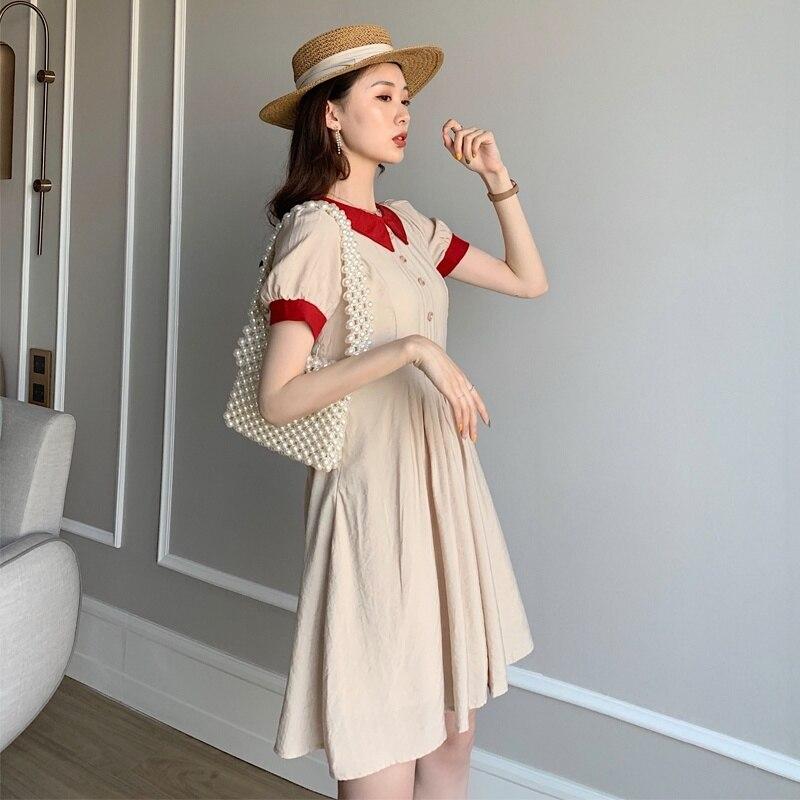 Vintage Women 39 s Dress Doll Collar Mini Dress Sundress Female Summer Women Dresses in Dresses from Women 39 s Clothing