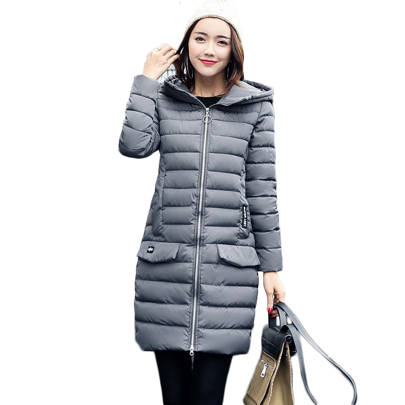 2017 New Casual Women Coat Autumn Winter Warm Jacket Padded Ladies Fashion Long Parkas Hooded Thin Wadded Outwear Women Clothing купить