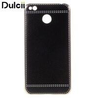 For Xiomi Redmi 4X Cases Litchi Grain Leather Coated Plating Soft TPU Cover For Xiaomi Redmi
