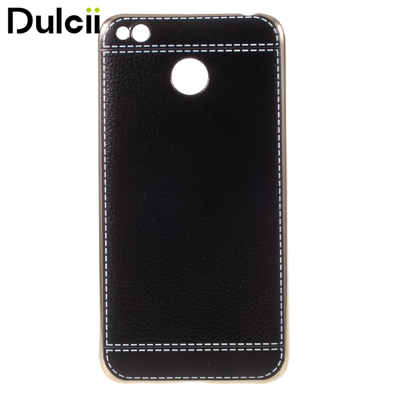 For Xiomi Redmi 4X Cases Litchi Grain Leather Coated Plating Soft TPU Cover For Xiaomi Redmi