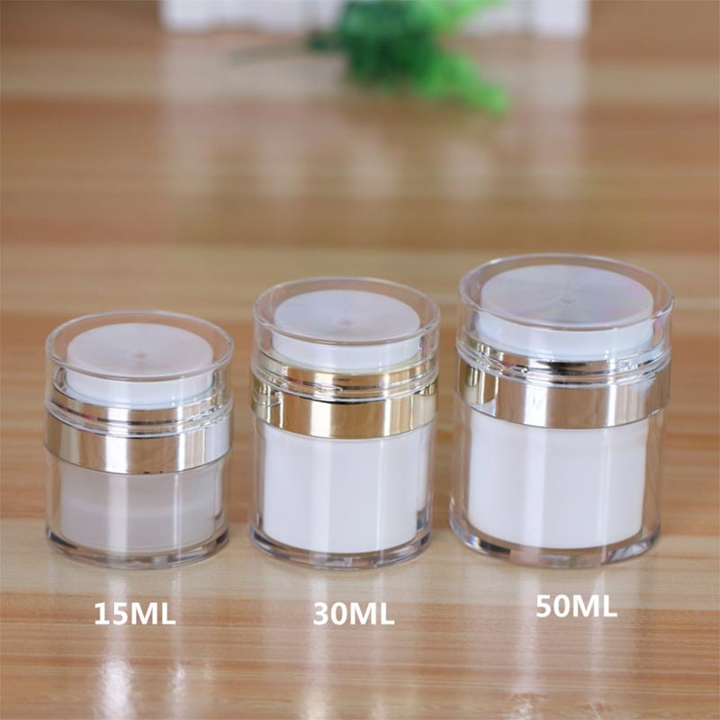 1pcs 15ml 30ml 50ml Cosmetic Jar,Empty Acrylic Cream Cans,Vacuum Bottle,Press Cream Jar,Sample Vials,Airless Cosmetic Container