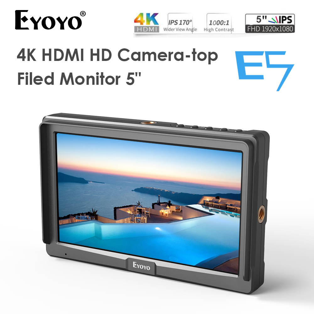 Eyoyo E5 5 Inches 1920x1080 Ultra Bright 2200nit On Camera Field DSLR Monitor Full HD 4K HDMI Input Output High Brightness