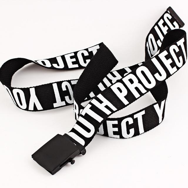 Woman Gothic Harajuku Street Belt Canvas Punk Letters Printed Decoration Loop Shaped Metal Buckle Jeans Waist Belt