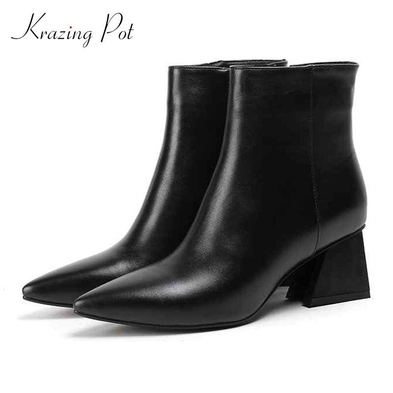 Krazing olla 2019 Venta caliente del cuero genuino del dedo del pie puntiagudo de las mujeres de la marca original de alta calidad diseño de la cremallera de la decoración del tobillo botas L10-in Botas hasta el tobillo from zapatos    1