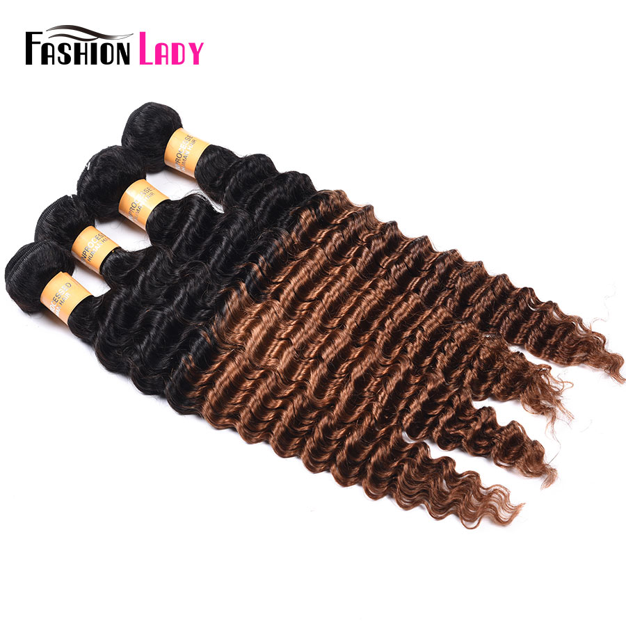 Fashion Lady Pre-Colored Peruvian Hair Bundles Ombre 2 Tone Bundles 1b/30 Brown Human Ha ...