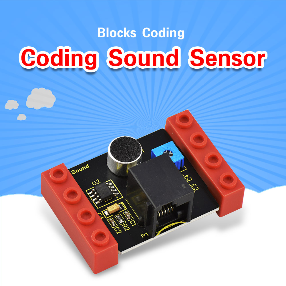 Kidsbits Blocks Coding Sound Sensor Module For Arduino STEAM EDU (Black And Eco Friendly)