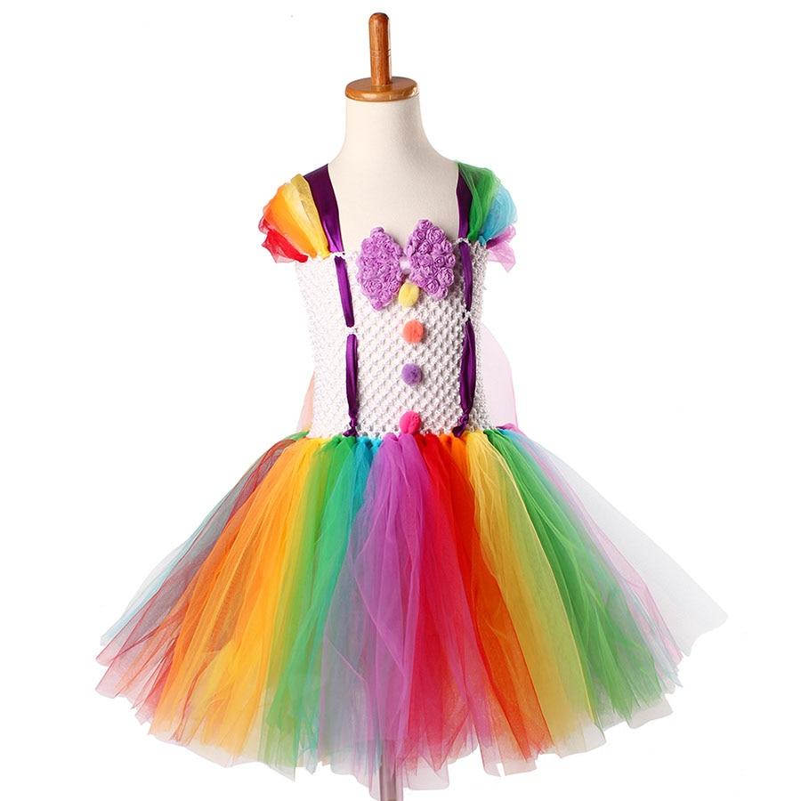 Girls Circus Fancy Clown Tutu Dress with Bow Children Handmade Rainbow Tulle (10)
