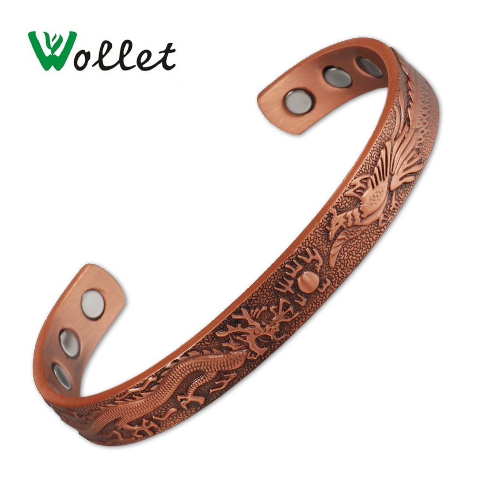 Wollet Dragon and Phoenix Pure Copper Magnetic Bangle Bracelet for Men Women Health Care Pain Relief Magnet Chinese Style DesignWollet Dragon and Phoenix Pure Copper Magnetic Bangle Bracelet for Men Women Health Care Pain Relief Magnet Chinese Style Design