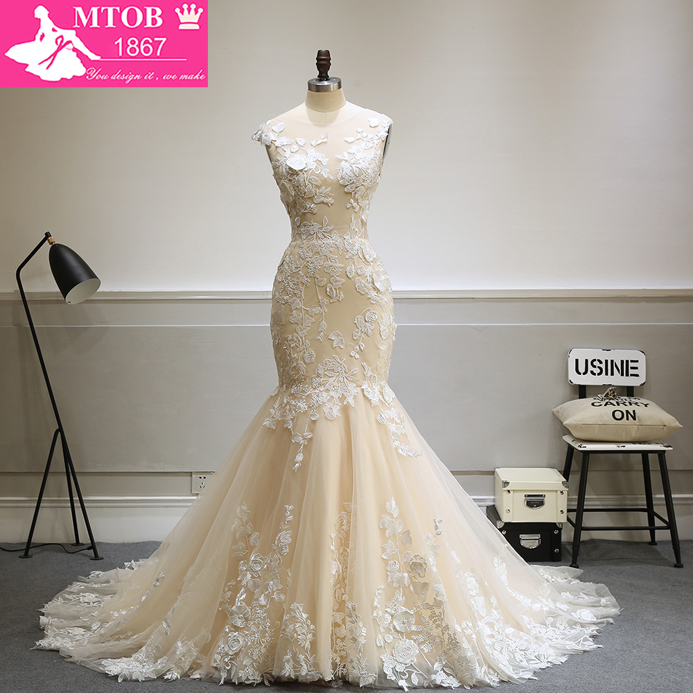 Designer sexy mermaid lace wedding dress 2017 champagne for Robes de mariage designer amazon