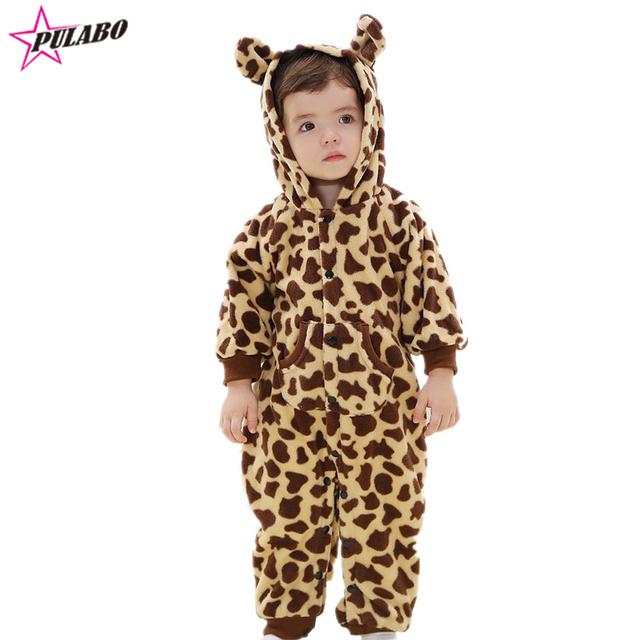 2016 Nova Adorável Animal do Estilo Macacão de Bebê Bonito Do Bebê Das Meninas do Menino Roupas de Inverno do Outono do Algodão de Lã Macacão de Roupas de Recém-nascidos
