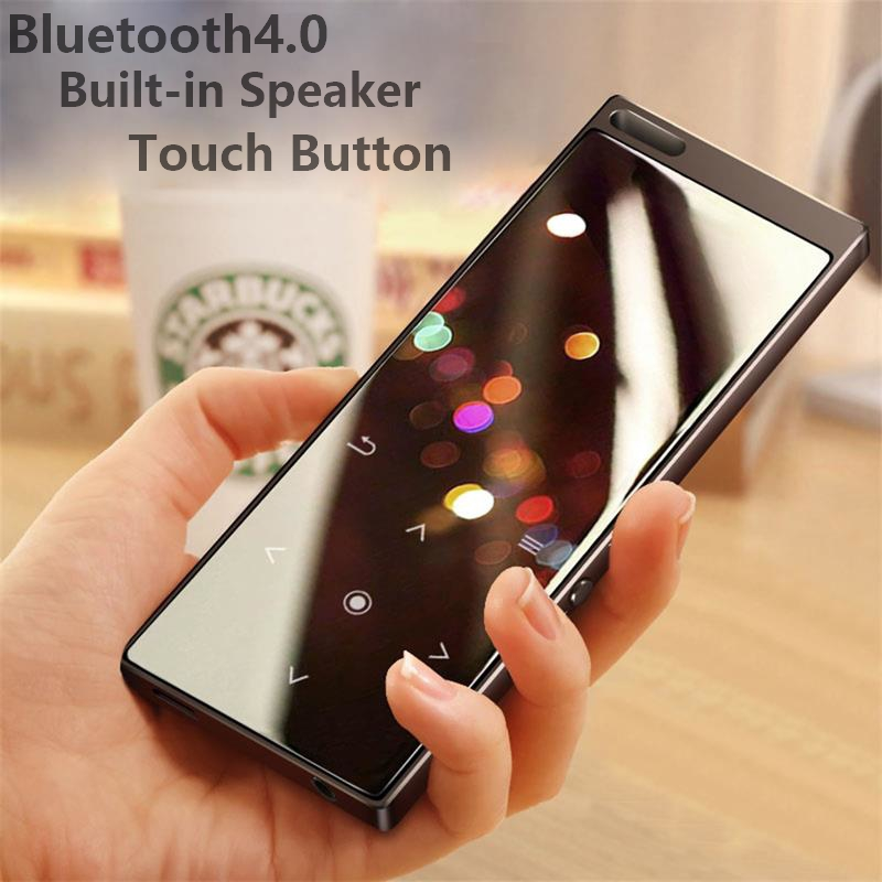 Bluetooth4.0 Metal MP3 Music Player Built-in Speaker Touch Button Lossless HiFi Sound Player with FM, Support Up to 128G SD Card 2018 hifi lossless music mp3 player with bluetooth 2 4 tft screen built in speaker music player support tf card up to 128g