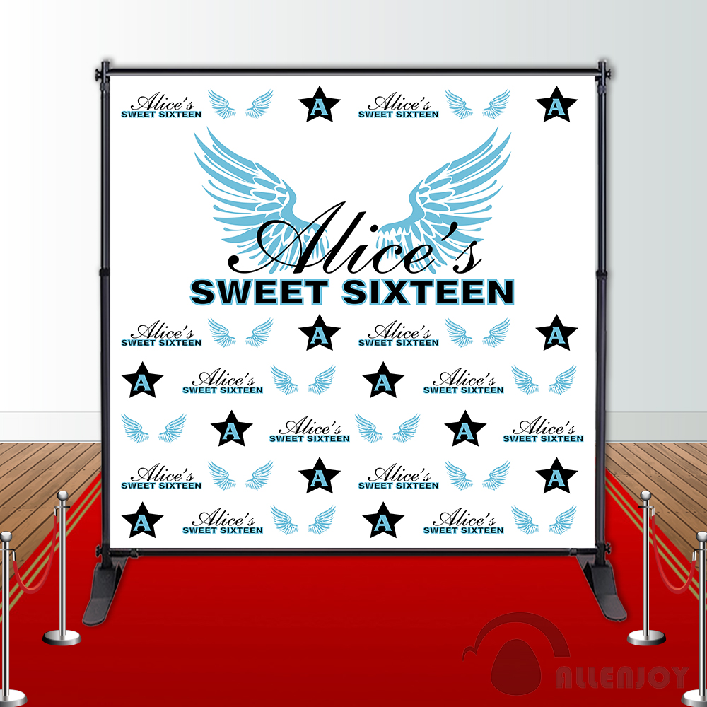 Allenjoy Girl sweet sixteen Birthday backdrops Step and Repeat Background party banner Invitation celebration Party customize allenjoy backdrops baby shower background pink stripe rose gold circle birthday invitation celebration party customize
