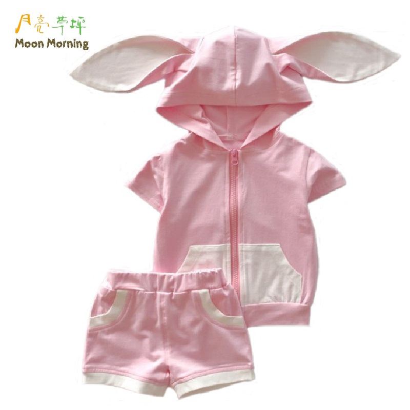 Moon Morning Girls Clothing Set 18M~4T Cotton Bunny Rabbit Ear Pink Kids Clothes Summer Patchwork New Branded Children Garment nyx professional makeup матирующая тональная основа stay matte but not flat liquid foundation medium beige 06