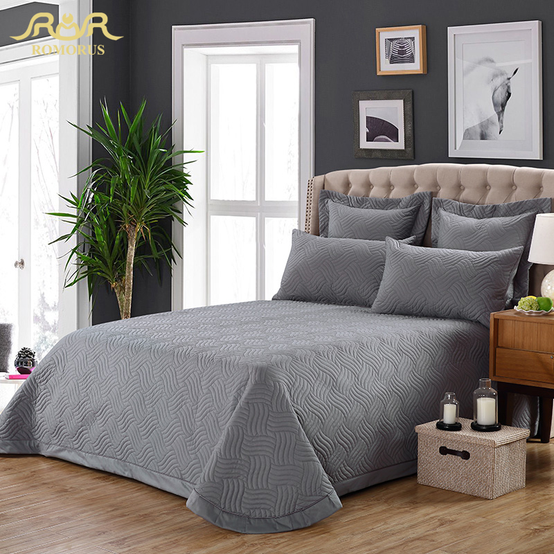 3-Pieces/Set 100% Cotton Solid Quilted Bedspread Set Gray Quality Bed Sheet Cover Sets Pillowcase 245*260cm Hot Sale ROMORUS