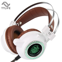 TTLIFE Sport Gaming Headset Wired Earphone Game Headphone With Microphone Led Noise Canceling Headphones For Computer