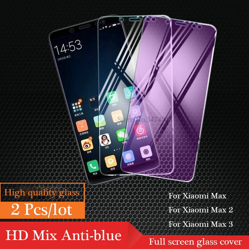 2Pcs/lot 9H Tempered Glass For Xiaomi Mi Max 2 3 Pro Full Protective Film Screen Protector For Xiaomi Mi Max 3 2 Glass Anti-blue